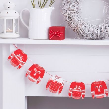Red and White Christmas Jumper Bunting / Garlan - 1.2M